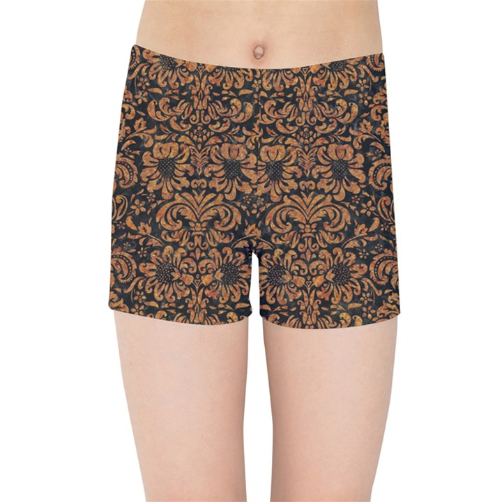 DAMASK2 BLACK MARBLE & RUSTED METAL (R) Kids Sports Shorts