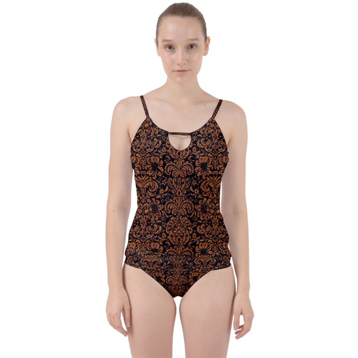 DAMASK2 BLACK MARBLE & RUSTED METAL (R) Cut Out Top Tankini Set