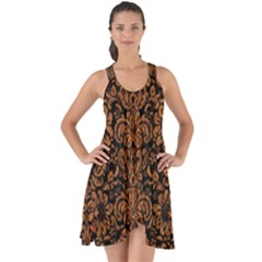 Damask2 Black Marble & Rusted Metal (r) Show Some Back Chiffon Dress