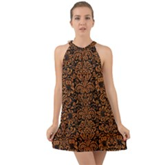 Damask2 Black Marble & Rusted Metal (r) Halter Tie Back Chiffon Dress