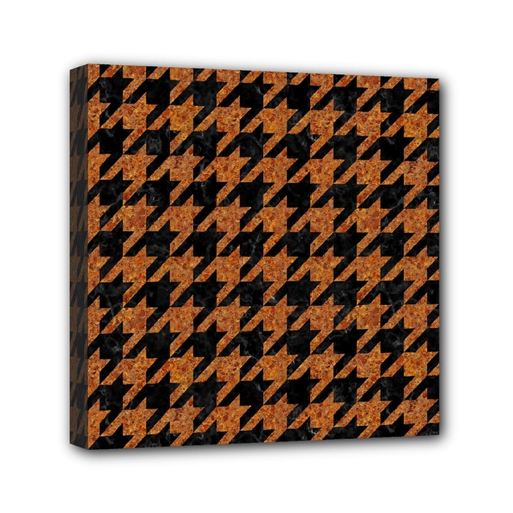 HOUNDSTOOTH1 BLACK MARBLE & RUSTED METAL Mini Canvas 6  x 6