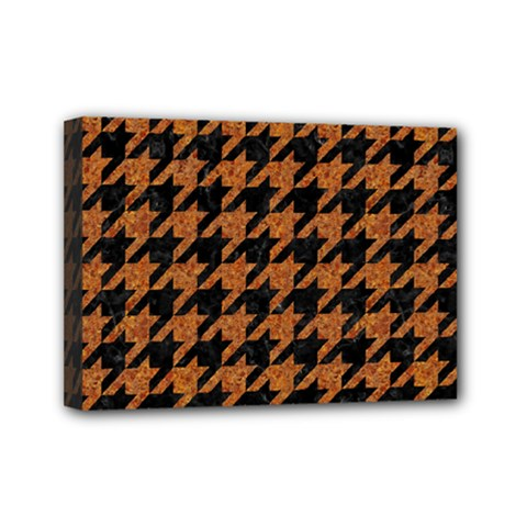 Houndstooth1 Black Marble & Rusted Metal Mini Canvas 7  X 5