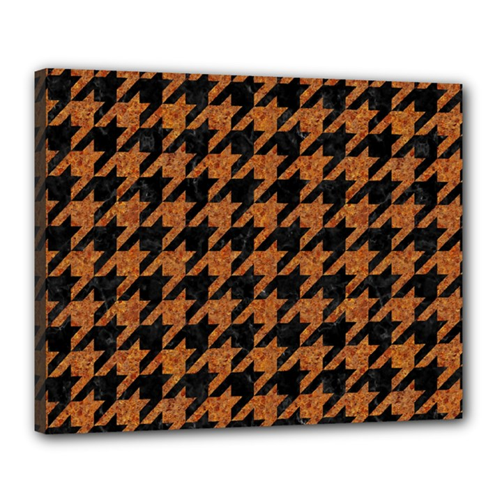 HOUNDSTOOTH1 BLACK MARBLE & RUSTED METAL Canvas 20  x 16