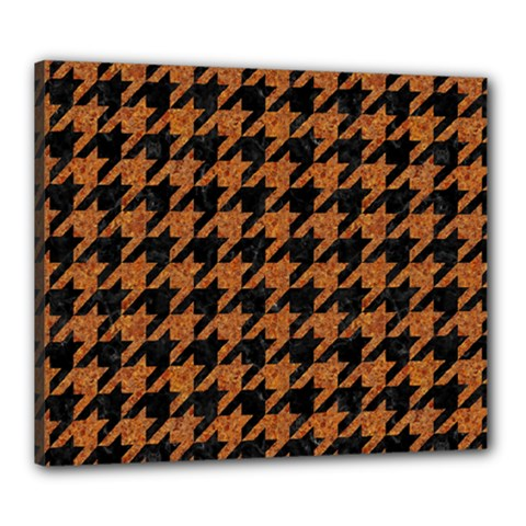 Houndstooth1 Black Marble & Rusted Metal Canvas 24  X 20