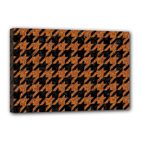 Houndstooth1 Black Marble & Rusted Metal Canvas 18  X 12