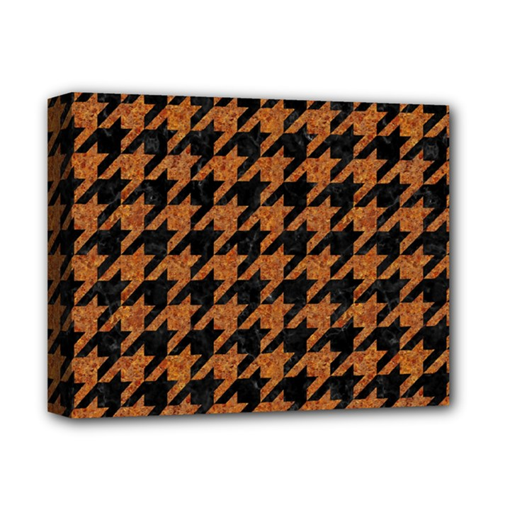 HOUNDSTOOTH1 BLACK MARBLE & RUSTED METAL Deluxe Canvas 14  x 11