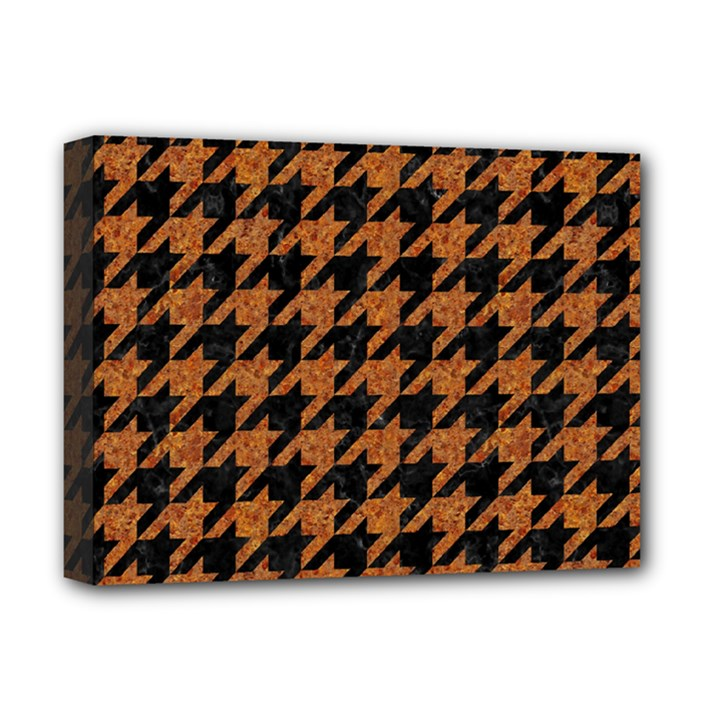 HOUNDSTOOTH1 BLACK MARBLE & RUSTED METAL Deluxe Canvas 16  x 12
