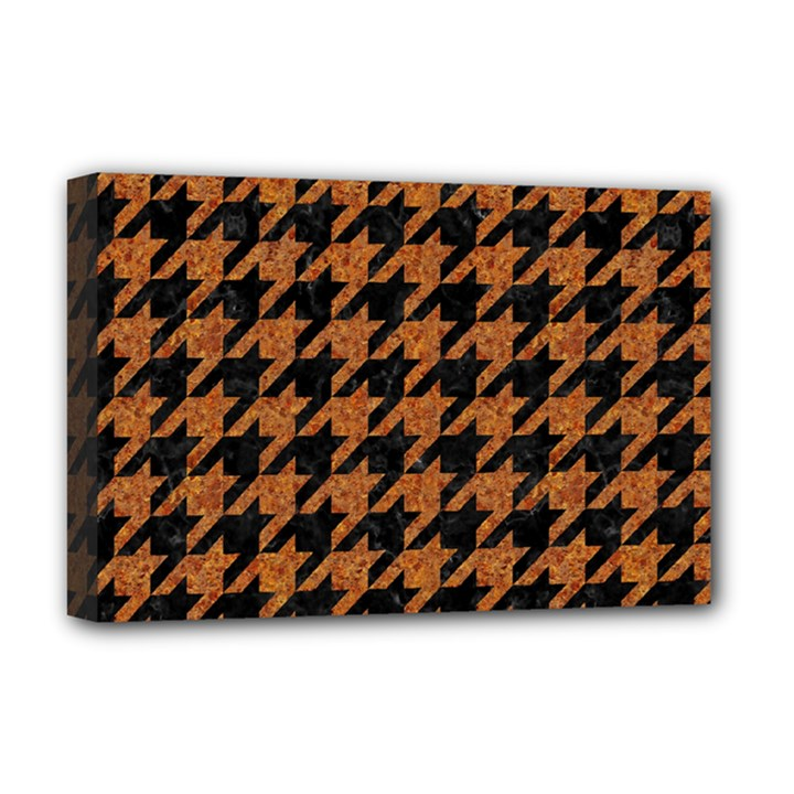 HOUNDSTOOTH1 BLACK MARBLE & RUSTED METAL Deluxe Canvas 18  x 12