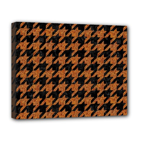 Houndstooth1 Black Marble & Rusted Metal Deluxe Canvas 20  X 16