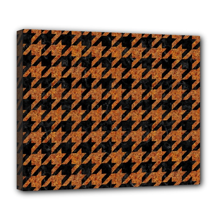 HOUNDSTOOTH1 BLACK MARBLE & RUSTED METAL Deluxe Canvas 24  x 20