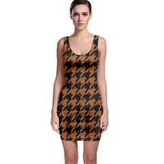 Houndstooth1 Black Marble & Rusted Metal Bodycon Dress