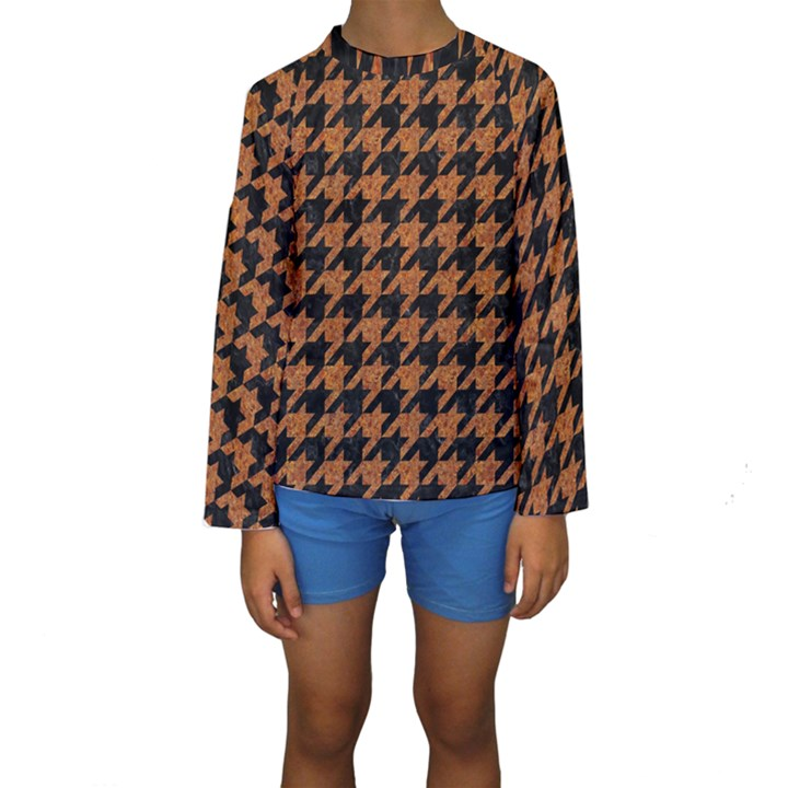 HOUNDSTOOTH1 BLACK MARBLE & RUSTED METAL Kids  Long Sleeve Swimwear