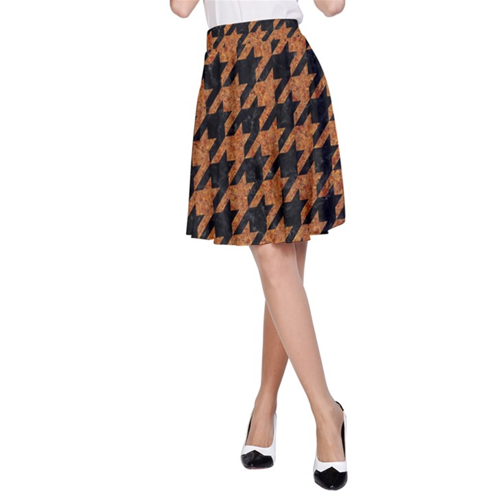 HOUNDSTOOTH1 BLACK MARBLE & RUSTED METAL A-Line Skirt