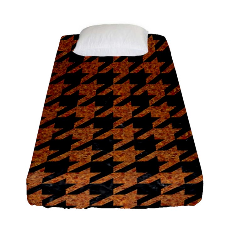HOUNDSTOOTH1 BLACK MARBLE & RUSTED METAL Fitted Sheet (Single Size)