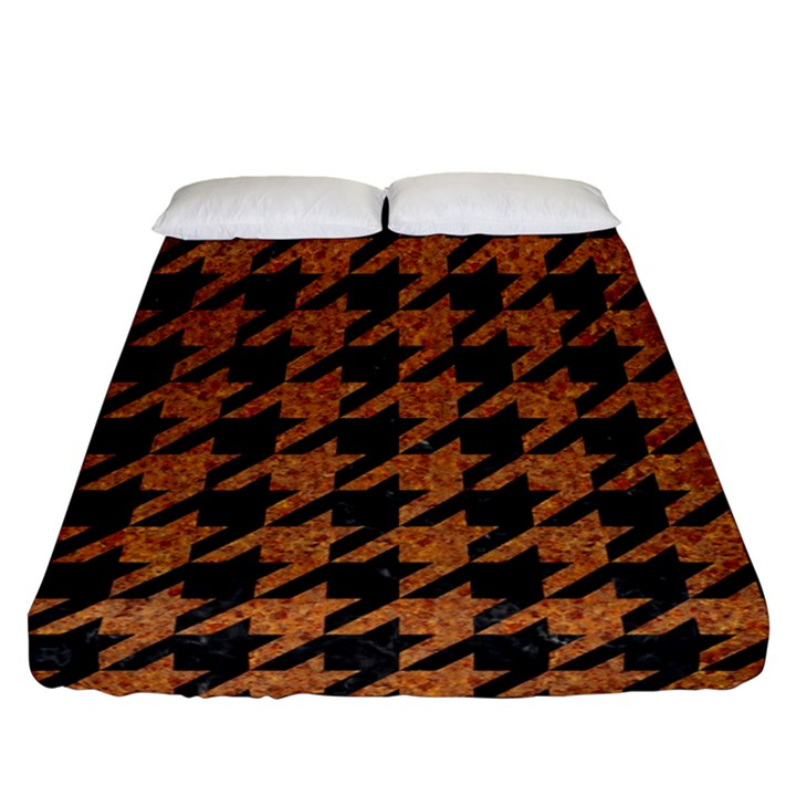 HOUNDSTOOTH1 BLACK MARBLE & RUSTED METAL Fitted Sheet (Queen Size)