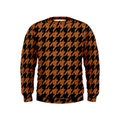 Houndstooth1 Black Marble & Rusted Metal Kids  Sweatshirt