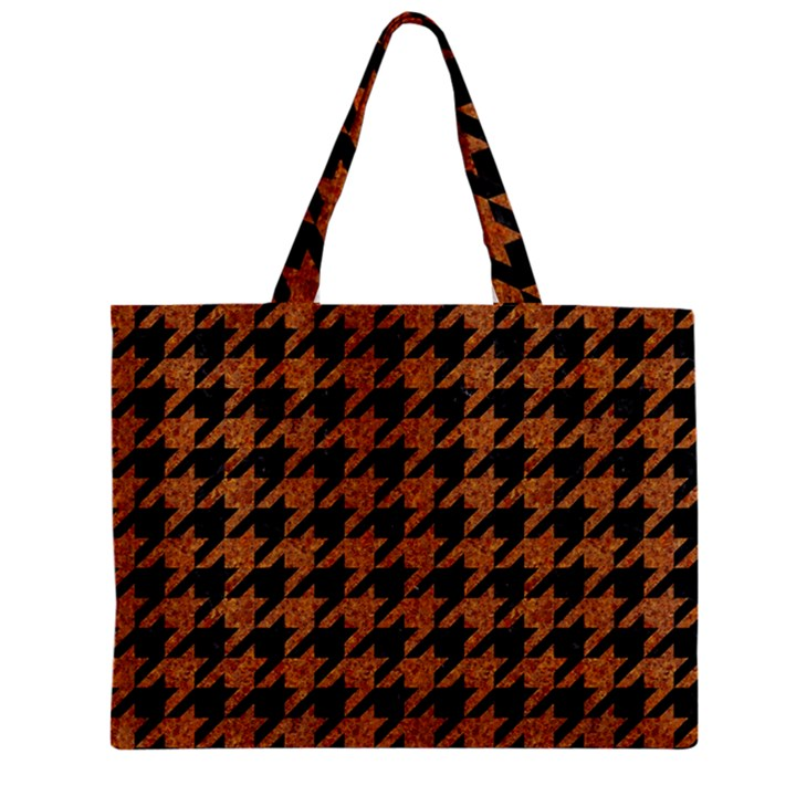 HOUNDSTOOTH1 BLACK MARBLE & RUSTED METAL Zipper Mini Tote Bag