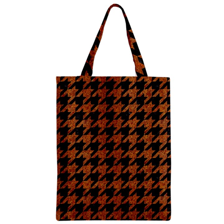 HOUNDSTOOTH1 BLACK MARBLE & RUSTED METAL Zipper Classic Tote Bag