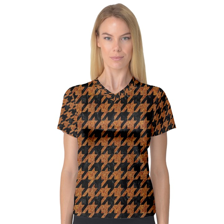 HOUNDSTOOTH1 BLACK MARBLE & RUSTED METAL V-Neck Sport Mesh Tee