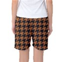 HOUNDSTOOTH1 BLACK MARBLE & RUSTED METAL Women s Basketball Shorts View2