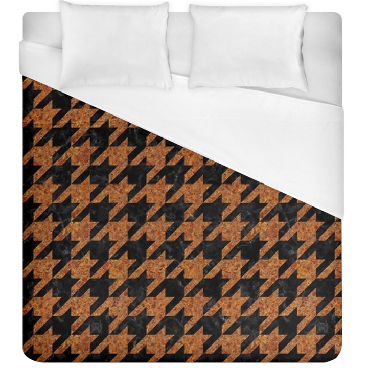 HOUNDSTOOTH1 BLACK MARBLE & RUSTED METAL Duvet Cover (King Size)