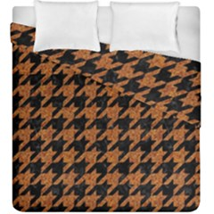 Houndstooth1 Black Marble & Rusted Metal Duvet Cover Double Side (king Size)