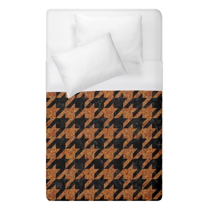 HOUNDSTOOTH1 BLACK MARBLE & RUSTED METAL Duvet Cover (Single Size)