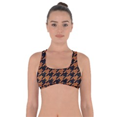Houndstooth1 Black Marble & Rusted Metal Got No Strings Sports Bra