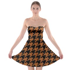Houndstooth1 Black Marble & Rusted Metal Strapless Bra Top Dress