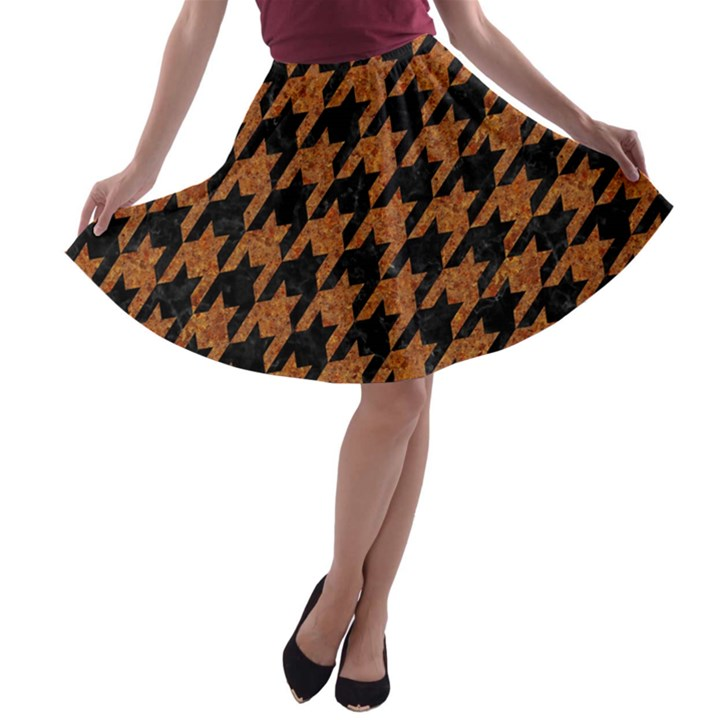 HOUNDSTOOTH1 BLACK MARBLE & RUSTED METAL A-line Skater Skirt