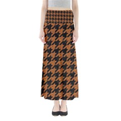 Houndstooth1 Black Marble & Rusted Metal Full Length Maxi Skirt