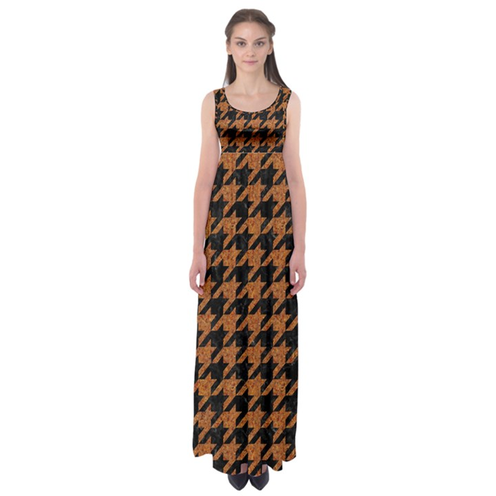 HOUNDSTOOTH1 BLACK MARBLE & RUSTED METAL Empire Waist Maxi Dress