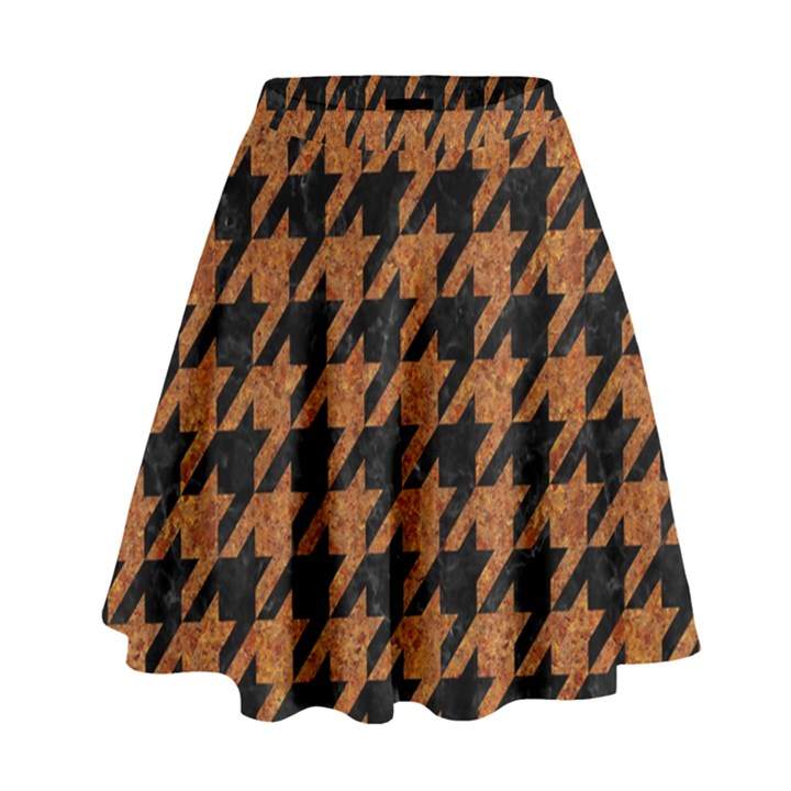 HOUNDSTOOTH1 BLACK MARBLE & RUSTED METAL High Waist Skirt