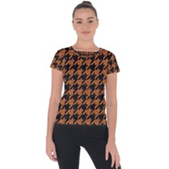 Houndstooth1 Black Marble & Rusted Metal Short Sleeve Sports Top