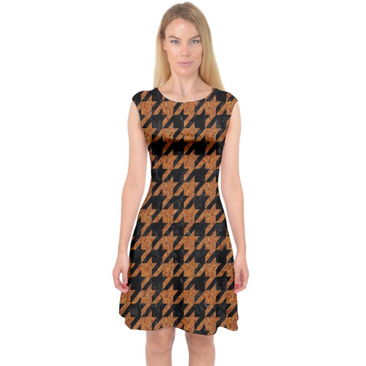 HOUNDSTOOTH1 BLACK MARBLE & RUSTED METAL Capsleeve Midi Dress