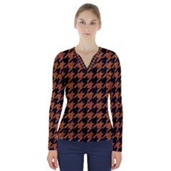 Houndstooth1 Black Marble & Rusted Metal V Neck Long Sleeve Top