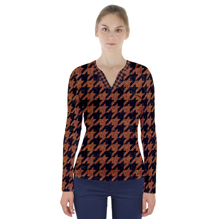HOUNDSTOOTH1 BLACK MARBLE & RUSTED METAL V-Neck Long Sleeve Top