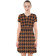 Houndstooth1 Black Marble & Rusted Metal Adorable In Chiffon Dress