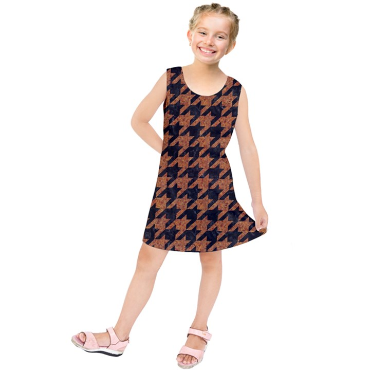 HOUNDSTOOTH1 BLACK MARBLE & RUSTED METAL Kids  Tunic Dress