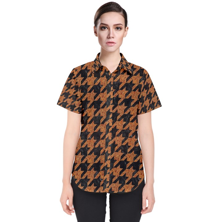 HOUNDSTOOTH1 BLACK MARBLE & RUSTED METAL Women s Short Sleeve Shirt