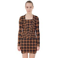 Houndstooth1 Black Marble & Rusted Metal V Neck Bodycon Long Sleeve Dress