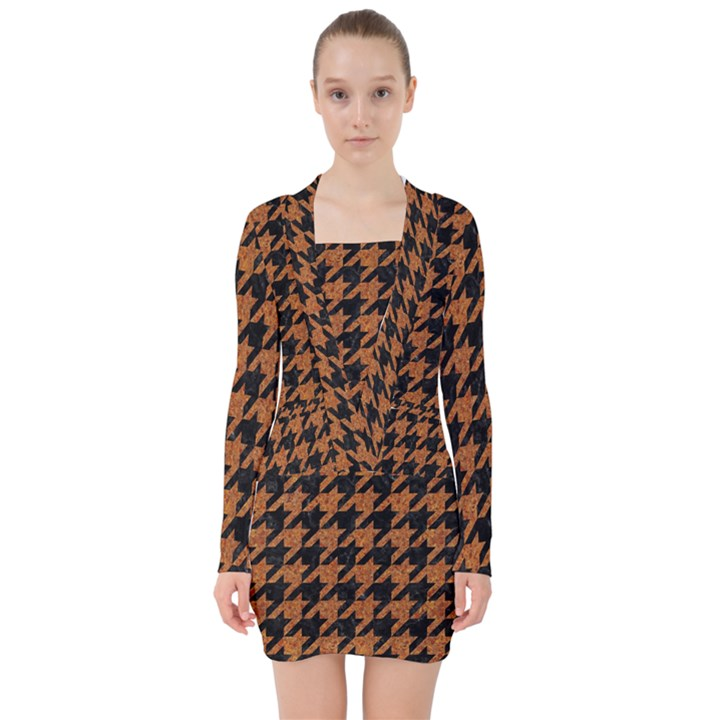 HOUNDSTOOTH1 BLACK MARBLE & RUSTED METAL V-neck Bodycon Long Sleeve Dress