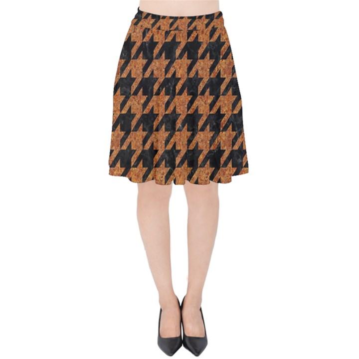 HOUNDSTOOTH1 BLACK MARBLE & RUSTED METAL Velvet High Waist Skirt