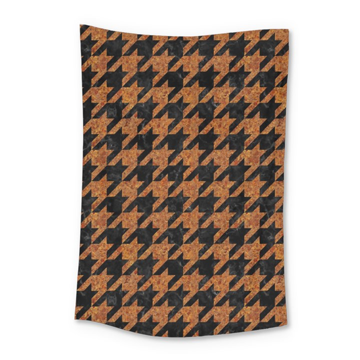 HOUNDSTOOTH1 BLACK MARBLE & RUSTED METAL Small Tapestry