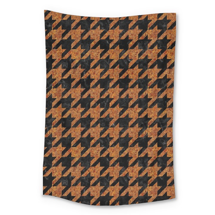 HOUNDSTOOTH1 BLACK MARBLE & RUSTED METAL Large Tapestry