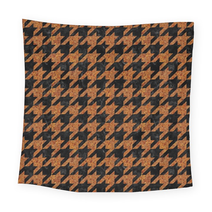HOUNDSTOOTH1 BLACK MARBLE & RUSTED METAL Square Tapestry (Large)