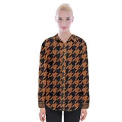Houndstooth1 Black Marble & Rusted Metal Womens Long Sleeve Shirt