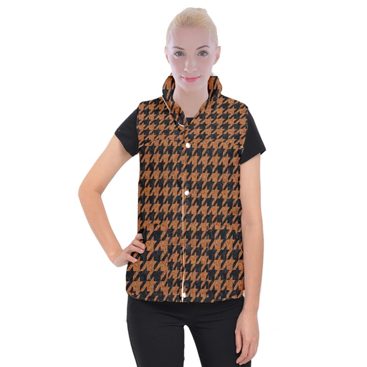 HOUNDSTOOTH1 BLACK MARBLE & RUSTED METAL Women s Button Up Puffer Vest