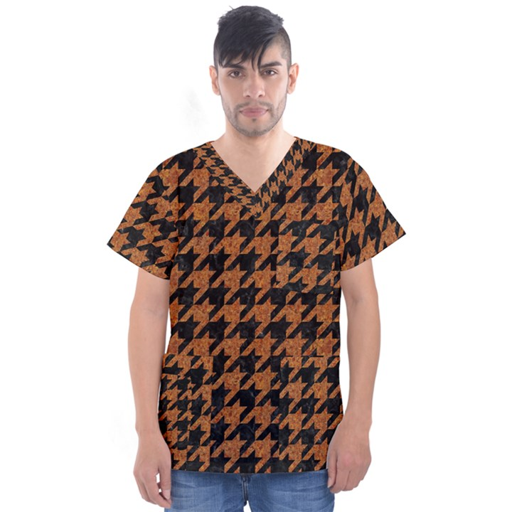 HOUNDSTOOTH1 BLACK MARBLE & RUSTED METAL Men s V-Neck Scrub Top