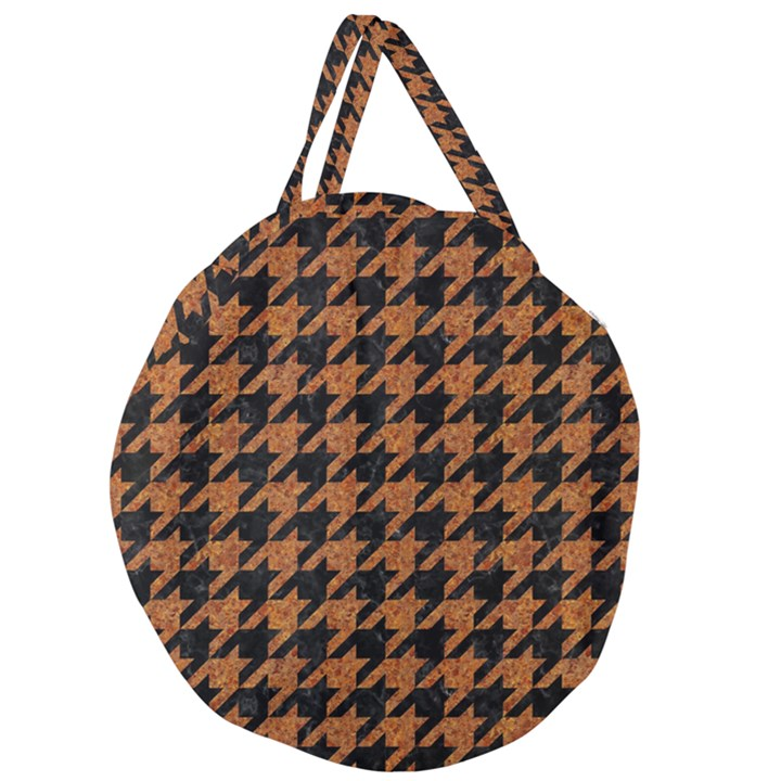 HOUNDSTOOTH1 BLACK MARBLE & RUSTED METAL Giant Round Zipper Tote